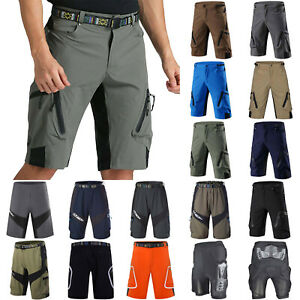 Mens-Cycling-mountain-bike-MTB-Bicyclette-Baggy-Shorts-Soft-Casual-Zipper-Pocket