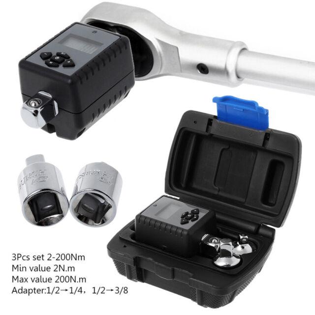 "3Pcs 2-200Nm Digital Display Torque Wrench Adapter 1//2/"" 3//8/"" /& 1//4/"" Drive Peak"