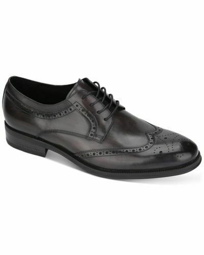 kenneth cole New York Men's Shoes Leather brock lace up Wingtip Dress Shoes Gray