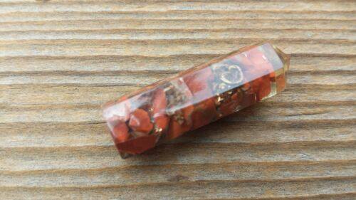 ONE RED JASPER ORGONE SINGLE TERMINATED GEMSTONE CRYSTAL PENCIL POINT