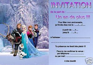 Détails Sur 5 Ou 12 Cartes Invitation Anniversaire Reine Des Neiges Réf 03