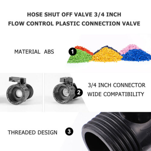 12pcs Hose Shut Off Valve Flow Control Plastic Connection Valve 3//4 Inch