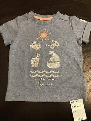 """2019 Nuovo Stile """"posso Vedere Il Mare"""" Mothercare Blu T Shirt 9-12 Mesi Nuovo Con Etichetta- Design Moderno"""