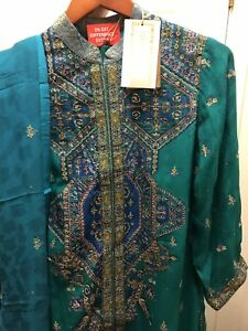Ritu-Kumar-three-PC-Embroidered-Churidar-Suit-In-Green-Color-Size-small-US-6