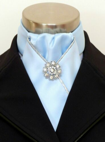 ERA  Harley Windsor  Pale Blue Stock Tie with  Silver Piping /& Brooch