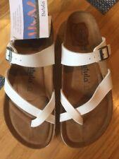 d5a8ad2ba BIRKENSTOCK Betula Mia WHITE birko-flor women Soft Footbed sandals Sz.40N