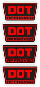 DOT Approved Motorcycle Helmet Stickers | Decals | D.O.T. Dirt BIke YZ (4-pack)
