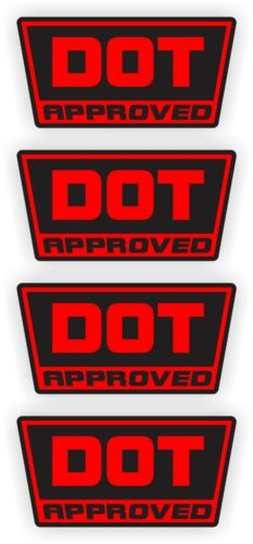 4-pack DOT Approved Motorcycle Helmet StickersDecalsD.O.T Dirt BIke YZ