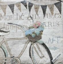 Set of 30 Cocktail Beverage 2-ply Napkins - French Flea Market Bicycle