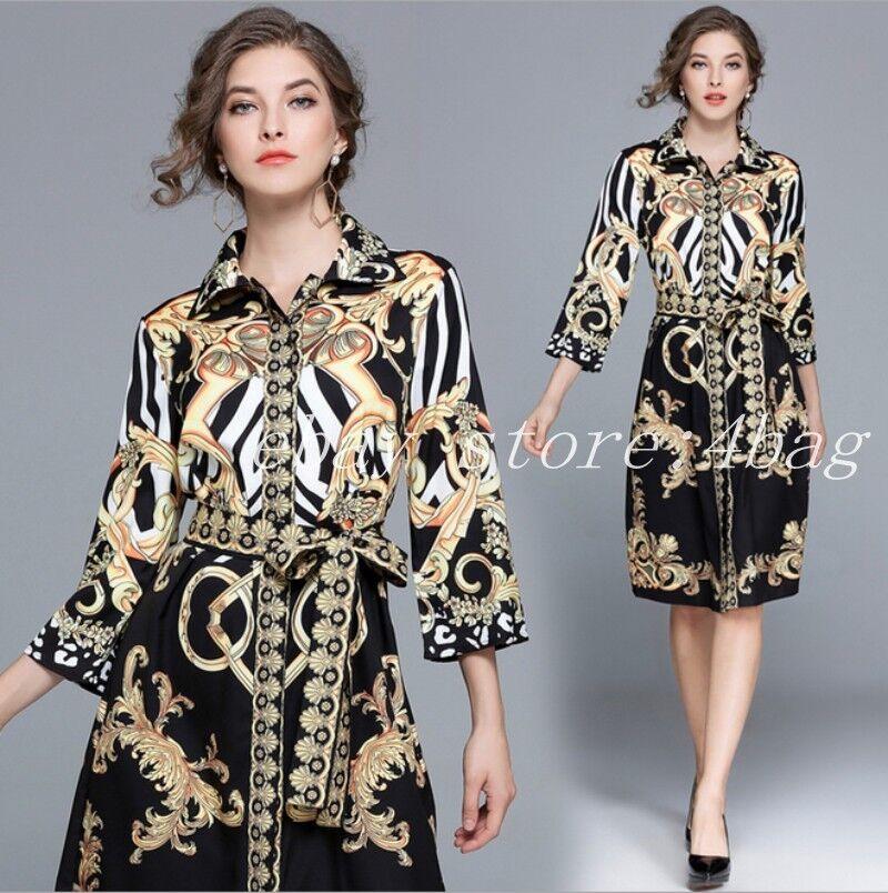 Womens Lapel Formal Printed Occident Evening Dress Shirt Dress Ballgown Party