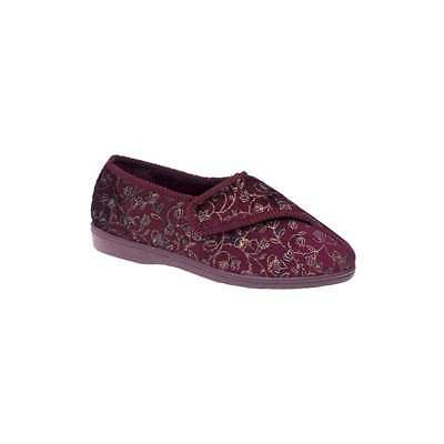 Zedzzz JANICE Ladies Cosy Touch Fastening Washable Floral Full Slippers Wine
