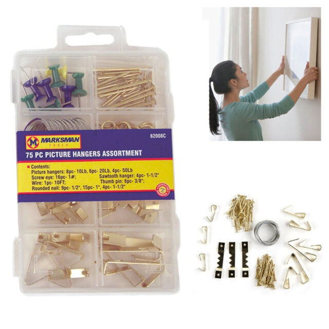 75pc Assorted Hooks Picture Hangers Fitting Wall Screw EyeNails Thumb Pin Metal
