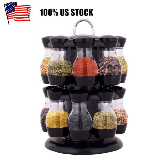 Carousel Spice Organizer Salt Jar Storage 12 Canisters Rotating Base 55 Labels For Sale Online Ebay