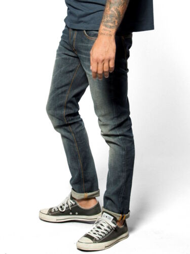 neu Nudie Herren Slim Fit Jeans HoseGrim Tim Organic Navy Vintage