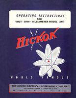 Hickok 215 Vom Volt Ohmmeter Operators Manual