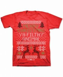 Home-Alone-Mens-Shirt-Red-Size-Medium-M-Graphic-Filthy-Animal-Holiday-Tee-205