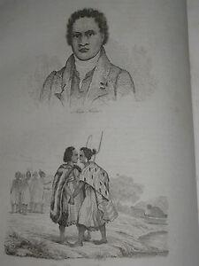 1834-Voyage-autour-du-monde-de-M-d-039-Urville-3-gravures-double-feuille-N-Zelande