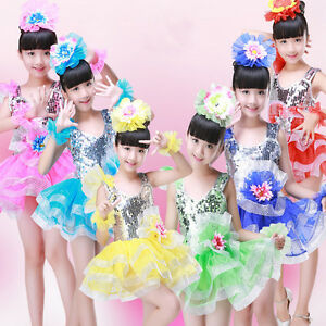 Image is loading Kids-Sequined-Jazz-Tap-Dancewear-Dress-Children-Party- 54a8886290ae