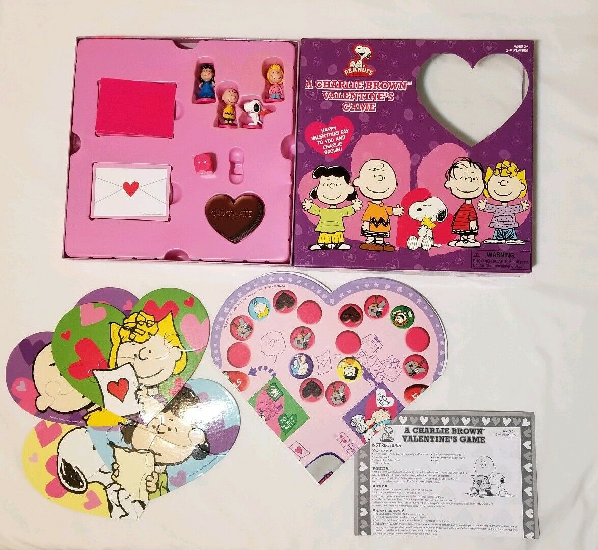 PEANUTS SNOOPY  A CHARLIE Marrone VALENTINE'S FAMILY BOARD GAME Rare 2007