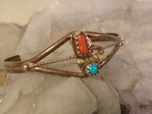 CHILDS TURQUOISE CORAL CUFF BRACELET STERLING FLOWER ARTISAN HANDCRAFTED