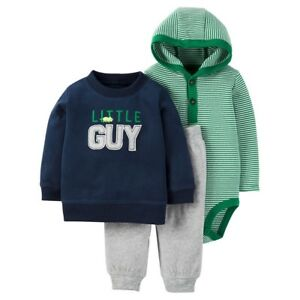 Carter-039-s-Baby-Boys-3-Piece-Blue-Little-Guy-Green-Stripe-Hooded-Outfit-Set-3M-6M
