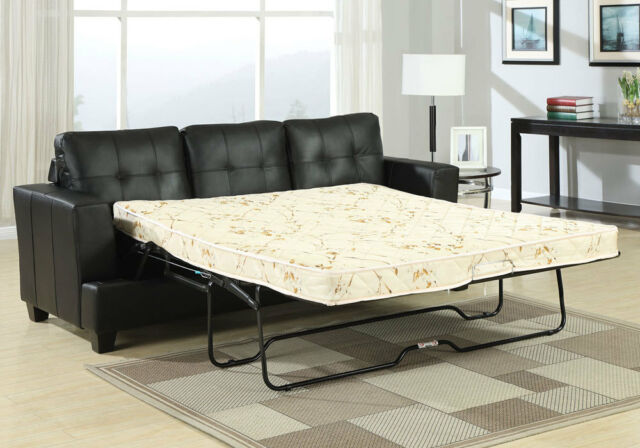 Merveilleux Platinum Sofa Bed 3 Seater Pull Out Queen Sleeper Tufted Black Bonded  Leather