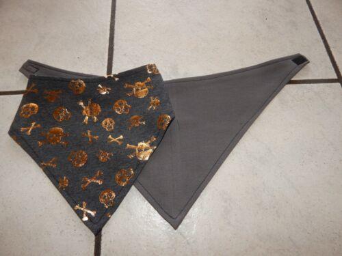 Bandanas  aus Jersey grau mit goldenen Totenköpfe und uni grau Dreieckstücher