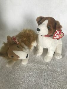 2 Ty Beanie Baby Dogs NWTs - Cassie (Collie) & Kippy (BBOTM) Tag Protectors