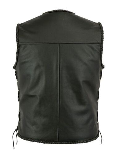 Fish Hook Buckle Motorcycle Biker Genuine Real Leather Waistcoat Vest for Men
