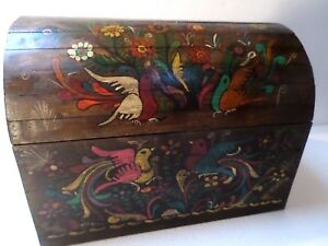 Image Is Loading Mexican Folk Art 17 034 Wood Dowry Chest