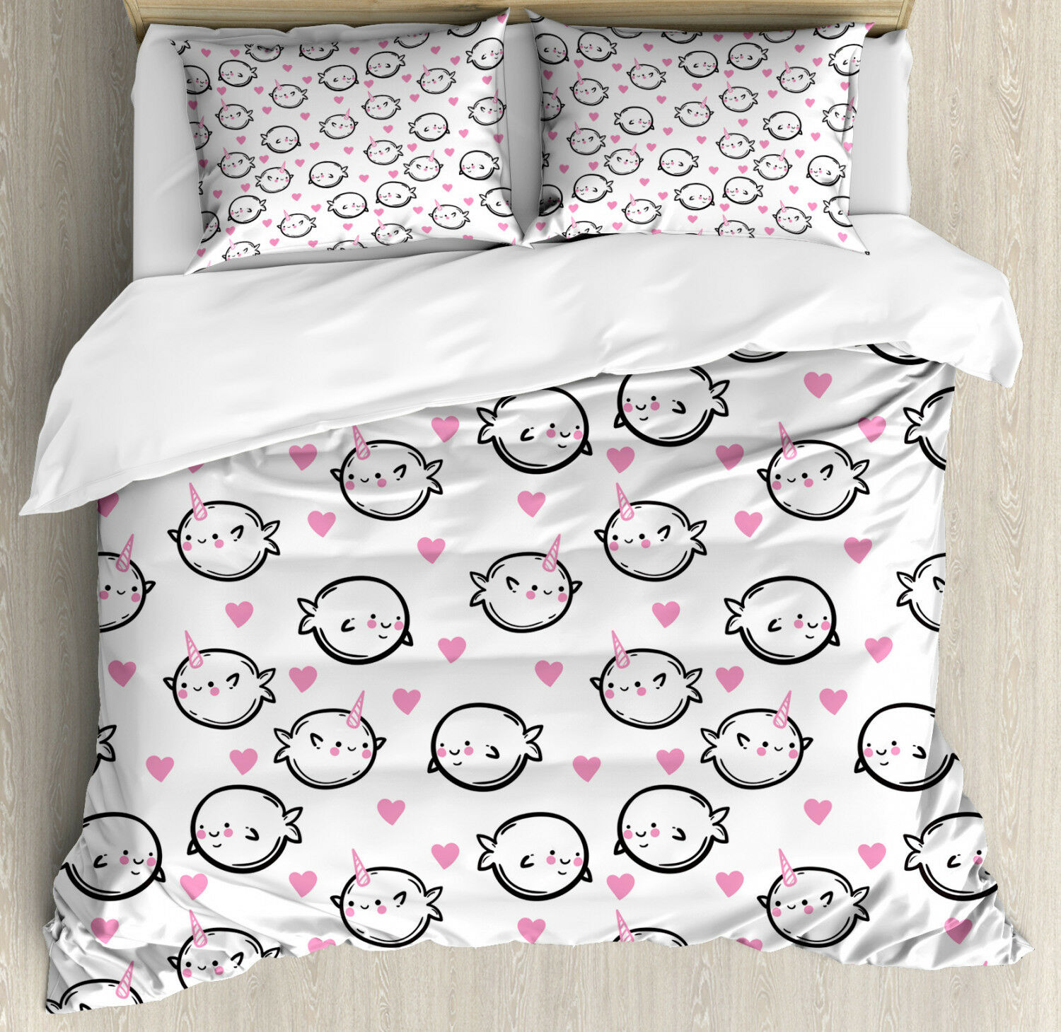 Narwhal Duvet Cover Set with Pillow Shams Doodle Style Whales Print