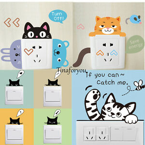 DIY-Light-Switch-Wall-Stickers-Cute-Animal-Decal-Home-Decor-Removable-New