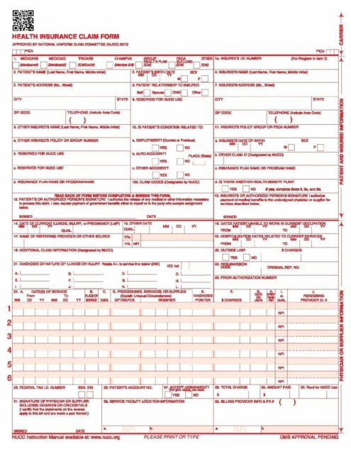 cms hcfa 1500 health insurance claim forms 25 sheets 02 12 version