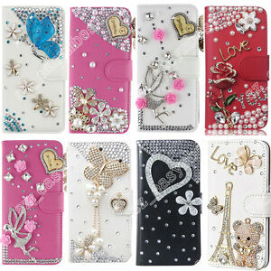timeless design 8ff12 cfd34 Details about Cute PU Leather Bling Diamonds Crystal Wallet Flip Cover Case  For WIKO Phone