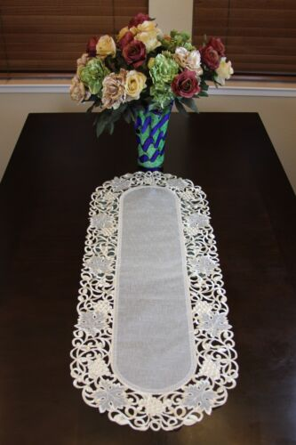 Oval Organza Embroidered Lace Cutwork Placemat Runner Dining Table Decor Wedding