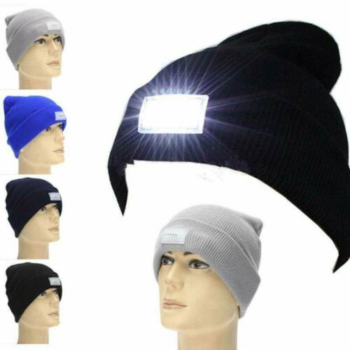 Unisex LED Light Winter Knitted Warm Beanie Hat With USB Rechargeable Battery