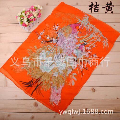 160 50cm Peacock Flowers Floral Fashion Ladies Chiffon Scarf Womens Shawls X010