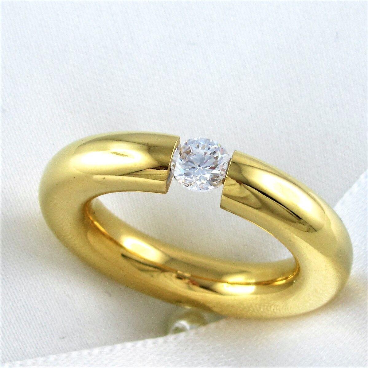 Edel Solitär Ring Weißgold vergoldet Liebe Zirkonia Verlobung Damen Geschenk
