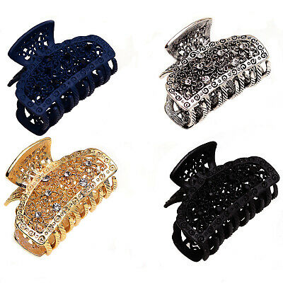 2 Small Diamante Crystal Butterfly Bull Dog Jaw GRIP Claw Clamp Hair Metal Clip