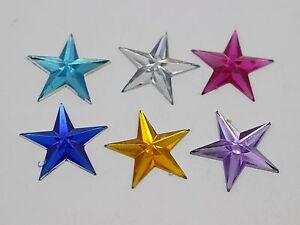 100-Mixed-Color-Acrylic-Flatback-Star-Rhinestone-Gems-20mm-DIY-Embellishments