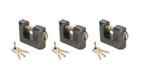 3-x-Gusseisernes-Monoblock-Vorhaengeschloss-mit-3-Stahlschluesseln-in-80-mm