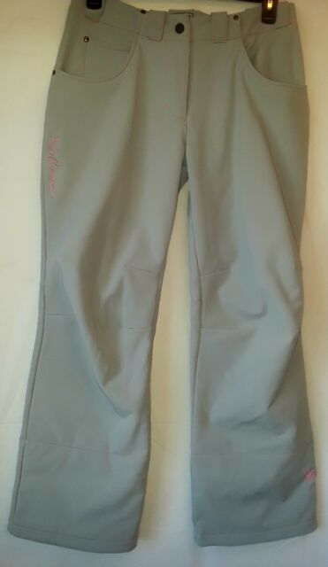 Salomon Women's snowboard ski pants size Large? White with pink stitching