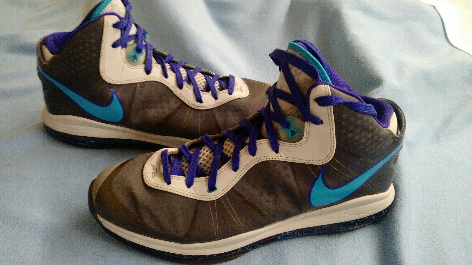 2010 Nike Air Lebron 8 V 2 VIII Summit Lake Lake Lake Hornets bluee Grey size 12 rare 98149e