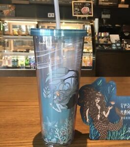 Details About Starbucks 2018 China Anniversary Mermaid 20oz Double Plastic Straw Cup Blue