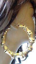 BIG BAMBOO HOOP EARRINGS FULL HOOP EARRINGS GOLD OR SILVER TONE 3.5 INCH HOOPS
