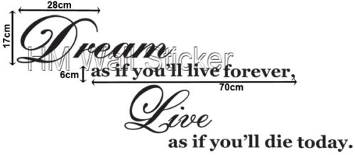 """Be Inspired by our wall quote /""""Dream as you live forever..vinyl cut wall sticker"""