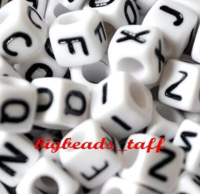ACRYLIC BEADS 6mm SINGLE LETTERS A Z 1,000 WHITE CUBE ALPHABET BEADS