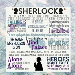 Sherlock TV Show Quotes Birthday Gift Present Metal Plaque Sign Wall House