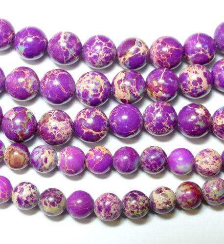 Impression Jaspis boule violet//turquoise 4-10 mm 1 Strang Bacatus Gemme #4021
