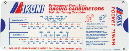 Mikuni Pocket Tuner Main Jet Jetting Tuning Calculator Carb Carburetor VM TM TMX